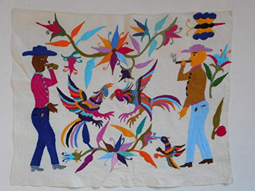 (Multi-colored Otomi Native American embroidered man chicken vice drink gamble and smoke motif)