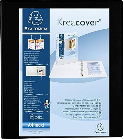 Exacompta Kreacover PP Ring Binder White A4 Maxi 4 D-Rings 47 mm Spine
