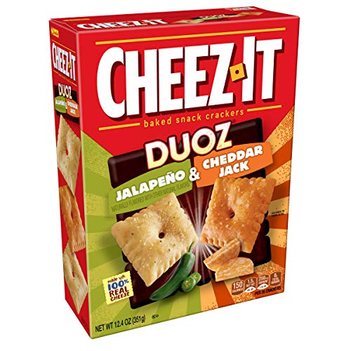 Cheez-It DUOZ Baked Snack Cheese Crackers, Jalapeno & Cheddar Jack, 12.4 oz Box(Pack of 12)