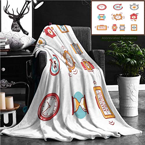 Nalagoo Unique Custom Flannel Blankets Types Of Alarms Clocks Timers And Watches Set Thin Line Art Icons Flat Style Illustrations Super Soft Blanketry for Bed Couch, Throw Blanket 70