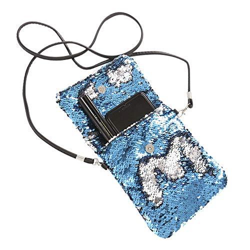 Bandoulière Sunneey Messager Argent Sac Les Mini Filles Mobile Femme Épaule Bleu Carré Téléphone Colorés Double Compris À Maquillage De Sequins Bandoulière Face y Pochettes r1gSOrn