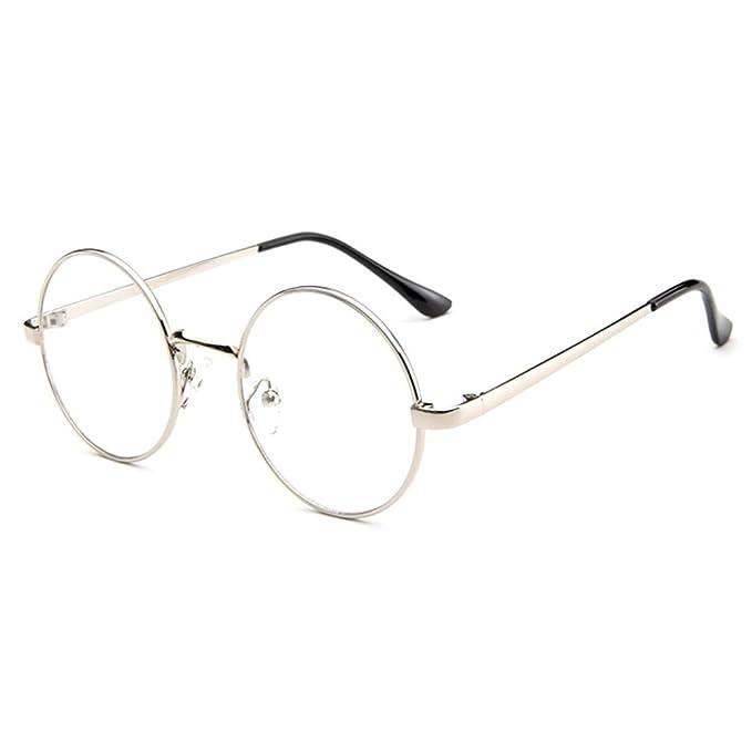 Unisex Tondi Montatura Occhiali da Vista Forepin® Donna Occhiali in Metallo con Lenti Trasparenti - Nero sDjQe