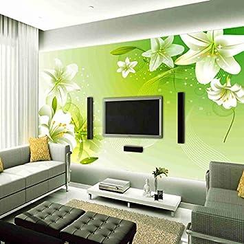 3D Vlies Fototapete Wallpaper Mural Grüne Lilien-Blume-Große ...