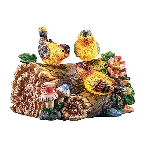 Bird Candelabra (Lighted Birds On Log Garden Figurine, Brown)