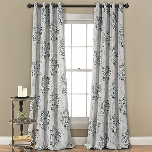 MYSKY HOME Dahlia Flower Damask Style Fashion Design Print Thermal Insulated Blackout Curtain with Grommet Top Dining Room, 52 by 84 inch, Blue - 1 Panel (Door Flower Curtain)