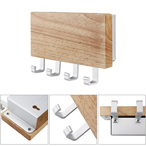 Key Holder, Segarty Decorative Wooden Key Chain Rack Hanger Wall Mounted with 4 Hooks, Multiple Mail and Key Holder Organizer for Door, Entryway, Hallway, Kitchen by Segarty (Image #4)