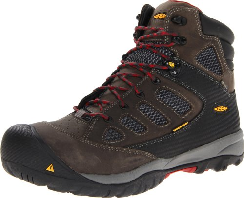 KEEN Utility Men's Tucson Mid Work Boot,Magnet/Chili Pepper, 14 D US