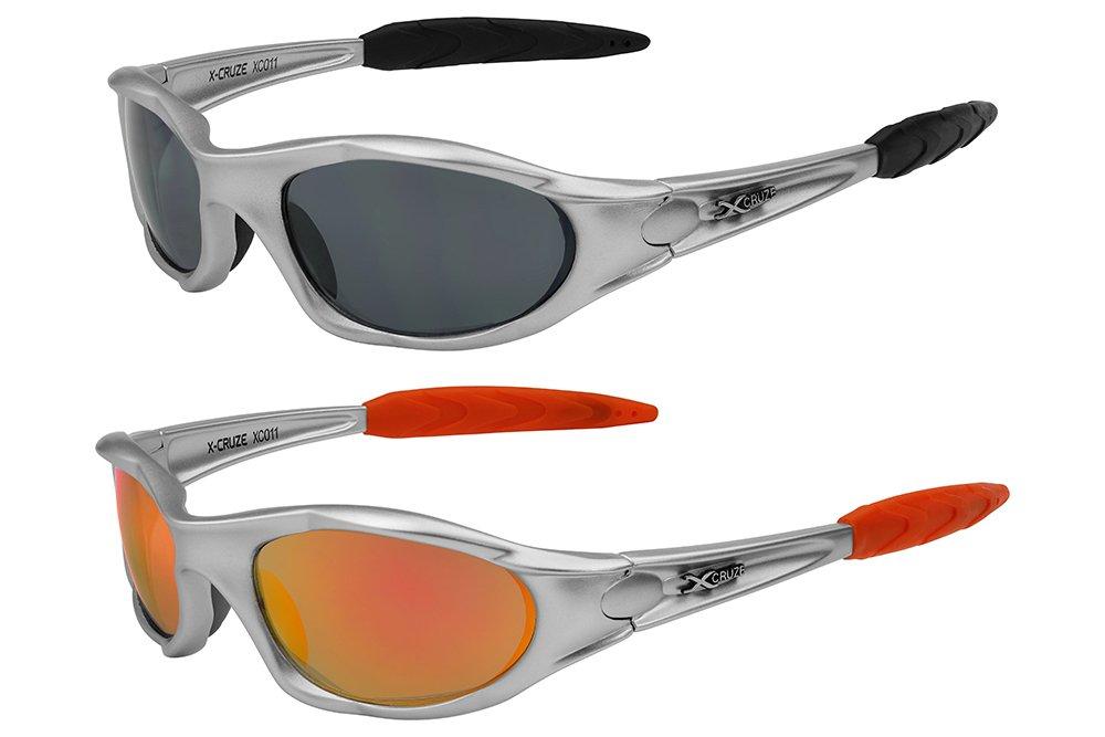 X-CRUZE® 2er Pack X08 Sonnenbrillen Sportbrille Radbrille Fahrradbrille - 1x Modell 01 (Rahmen und Bügelfarbe: schwarz) und 1x Modell 20 (Rahmen und Bügelfarbe: rot-orange) m8Nq8qCMxC