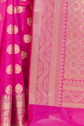 Chandrakala Women's Cotton Banarasi Saree Free Size Pink by Chandrakala (Image #4)