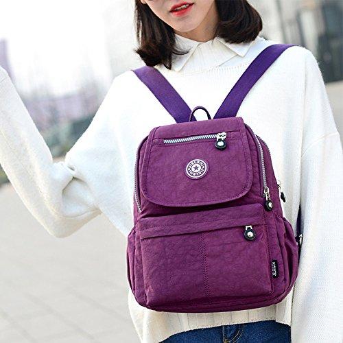 SUNRAY-BUY - Bolso mochila  de Lona para mujer morado