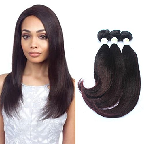 3 Bundles Yaki Curl Synthetic Hair Brazilian Nature Straight Hairstyle(13