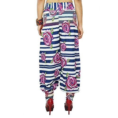 Casual Hippie de Boho Harem Harem Aladdin Pantalones Yoga mujeres indias Blanc et bleu