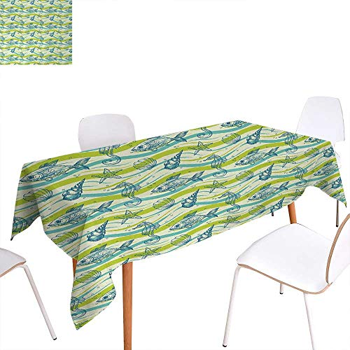 - Starfish Dinning Tabletop Decoration Oceanic Wave Inspired Lines with Sketchy Bubbles Seahorse Fish Cockleshell Art Table Cover for Kitchen 60