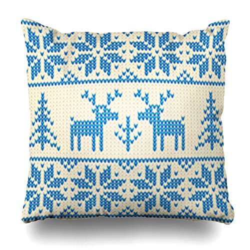 NOWCustom Throw Pillow Cover Jumper White Blue Christmas Ornamental Deers Deer Holidays Pattern Sweater Knit Abstract Close Zippered Pillowcase Square Size 20 x 20 Inches Home Decor Pillow Case