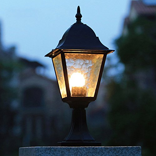 CGJDZMD Black Metal Aluminum Corner Wall Light Post Light Outdoor Waterproof Landscape Lights Patio Pavilion Column Lamp European Retro E27 1-Head Edison Pillar Lamp Garden Path Patio Lighting ()