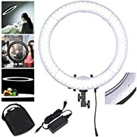 AW Dimmable 19 Ring Light 55W 5500K 240PCS LED SMD Adjustable Camera Video Portrait Light w/ Color Filter