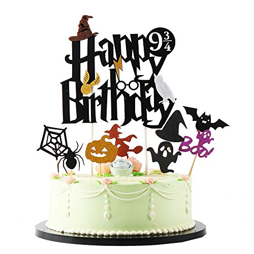 Black Harry Inspired Happy Birthday Cake Topper and 8 Halloween Theme Cake Topper Party Supplies -