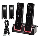 Insten Dual Remote Charging Dock Charger Station with 2 Rechargeable 2800mAh Batteries & LED Light Indicator Docking Compatible With NINTENDO Wii / Wii U Game Controller, Black