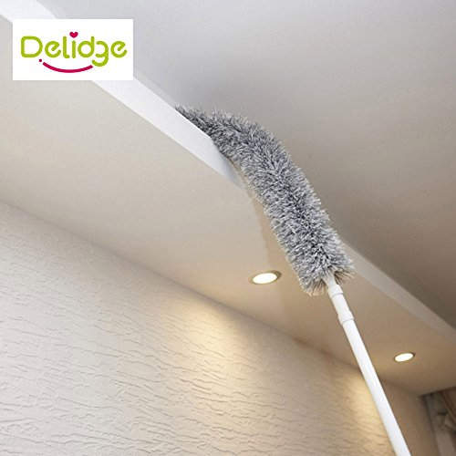 Delidge Houseables Cobweb Duster, Ceiling Fan, Long, Fluffy, Microfiber,Telescoping Extension Pole,Blinds Dust Remover, Spider Web Cleaner, Washable, Extendable, Dusting Wand Brush, Wet or Dry - Does Your Mean The What Of Head Shape