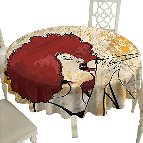 ScottDecor Christmas Tablecloth Afro,Singer Woman Karaoke Style Printed Tablecloth Round Tablecloth D 60