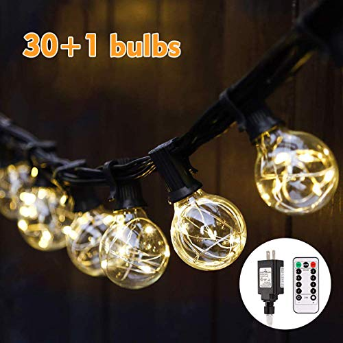 LED G40 Globe String Lights with Remote Control 33ft, 30 LED Bulbs Dimmable String Lights Indoor/Outdoor Linkable Waterproof Patio Wedding Gazebo Backyard Bedroom Decor Party Lights Warm White