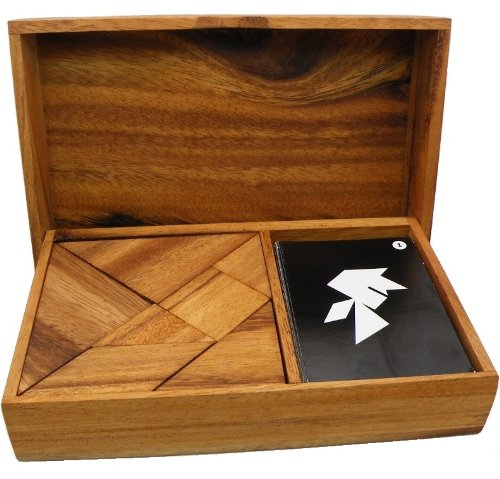 Logic Tangram Set with Play Cards Wooden Puzzle Game by Winshare Puzzles and Games