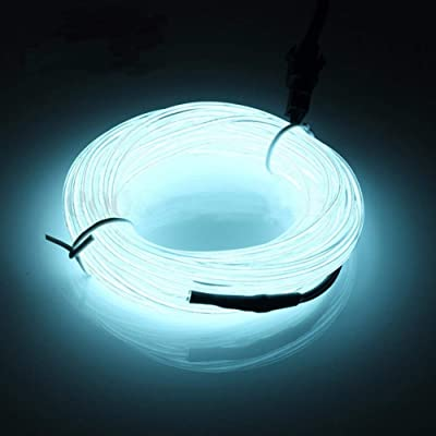 San Jison EL Wire, 16.4ft/5m Neon Glowing Strobing Electroluminescent EL Wire Light with Battery Pack Controller for Parties, Halloween, Automotive, Advertisement, Wedding, Pub Decoration(White): Garden & Outdoor