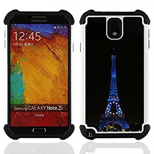 - Architecture Eiffel Tower At Night/ H??brido 3in1 Deluxe Impreso duro Soft Alto Impacto caja de la armadura Defender - SHIMIN CAO - For Samsung Galaxy Note3 N9000 N9008V N9009