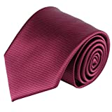 Jacob Alexander Men's Tone on Tone Corded Extra Long Neck Tie - Burgundy