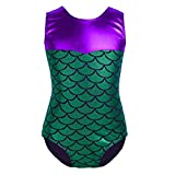 Freebily Kids Girls One Piece Mermaid Fish Scales Sparkle Gymnastics Ballet Dance Leotard Fancy Costumes Green 5-6 Years