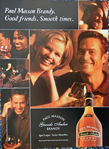 Paul Masson Brandy, Print Ad. Full Page Color Illustration (good friends-smooth times) authentic original Magazine Art (Smooth Brandy)
