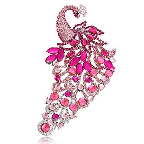 (EVER FAITH Women's Austrian Crystal Wedding Bridal Peacock Bird Brooch Pink Silver-Tone)