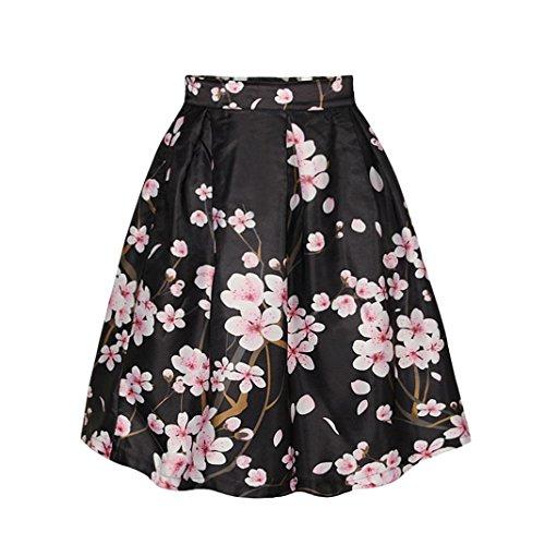 Vintage A 44 Jupe imprime jupe Sasairy Floral midi Galaxy jupe Style line 008 rtro Pli Couleur Patineuse FR36 fqnU07