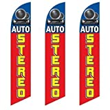 Three (3) Pack Full Sleeve Swooper Flags AUTO STEREO Red Yellow Blue w Pic by EHT Flags