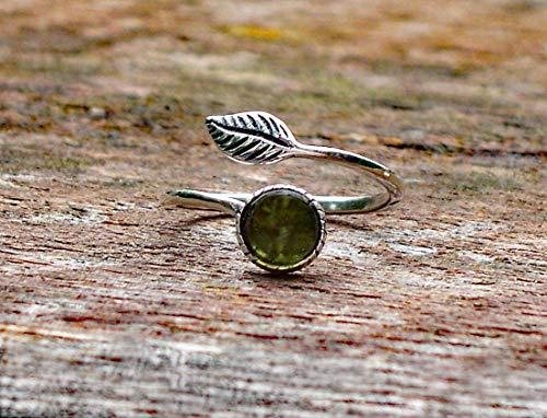 Recycled Vintage Olive Green Wine Bottle Sterling Silver Leaf Botanical Collection -