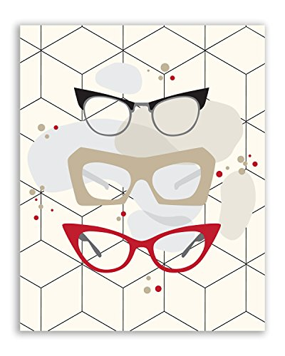 Retro Fashion Prints - Set of Four Vintage Campy Wall Art Decor Photos 8x10 Hipster Glasses - Pin-up Dresses and Bathing Suit