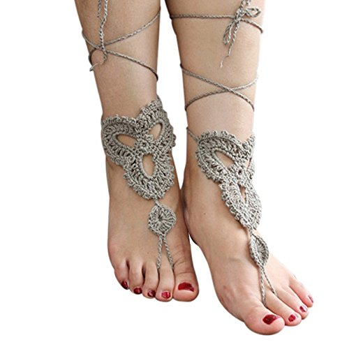 Vococal - 1 par Zapatos Tobillera Pulsera de Crochet Sandalias Pies Descalzos para Novia Dama de Honor Boda Baile Señora de Mujer / Accesorio de Playa ...