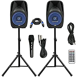 "Pair Alphasonik All-in-one 8"" Powered 800W PRO DJ Amplified Loud Speakers with Bluetooth USB SD Card AUX MP3 FM Radio PA System LED Lights Karaoke Mic Guitar Amp 2 Tripod Stands Cable and Microphone"