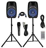 Pair Alphasonik All-in-one 8'' Powered 800W PRO DJ Amplified Loud Speakers with Bluetooth USB SD Card AUX MP3 FM Radio PA System LED Lights Karaoke Mic Guitar Amp 2 Tripod Stands Cable and Microphone