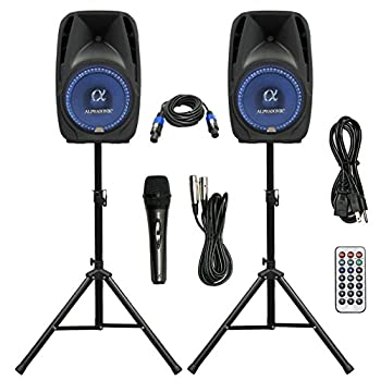 Image of Pair Alphasonik All-in-one 8' Powered 800W PRO DJ Amplified Loud Speakers with Bluetooth USB SD Card AUX MP3 FM Radio PA System LED Lights Karaoke Mic Guitar Amp 2 Tripod Stands Cable and Microphone
