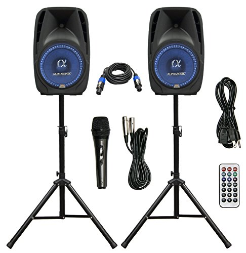 Pair Alphasonik All-in-one 8' Powered 800W PRO DJ Amplified Loud Speakers with Bluetooth USB SD Card AUX MP3 FM Radio PA System LED Lights Karaoke Mic Guitar Amp 2 Tripod Stands Cable and Microphone