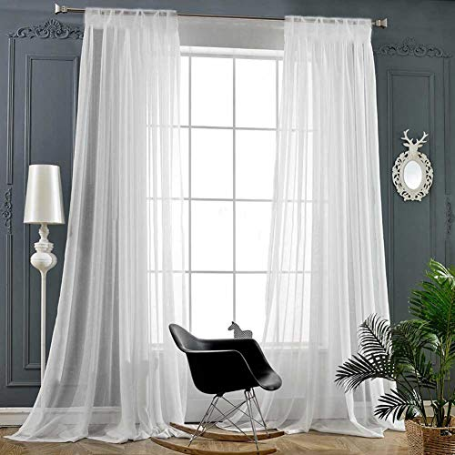 White Sheer Curtains 84 Inch Length Rod Pocket Window Treatment Drapes Voile Panels for Living Room/Bedroom (2 Panels, 55