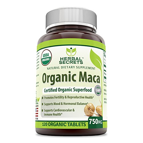 À base de plantes Secrets de l'USDA Certifié Biologique Maca 750 Mg 120 Comprimés Bouteille en Verre * Favorise la Fertilité Et de la Reproduction de la santé , prend en charge l'Humeur et l'Équilibre des hormones *