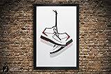 Air Jordan 2 'Black', 'White' Illustration, Vintage Hanging Kicks - Sneaker Wall Art - 12' x 18', 13' x 19', 18' x 24', 24' x 36'