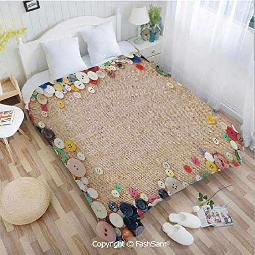 PUTIEN Super Soft Blankets for Couch Bed Birthday Buttons Collection Fabric Texture Canvas Frame Sewing Needlecraft Contemporary Picture Blanket for Home(49Wx78L)