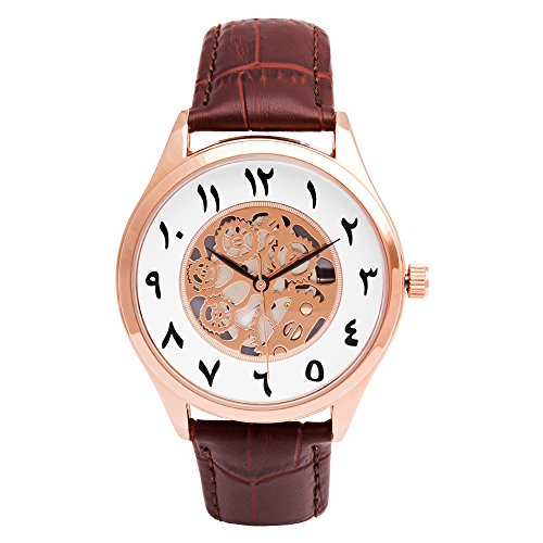Arabic Numerals Index Watches, Unisex Arabic Dial Face Skeleton Watch