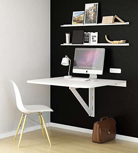 Browse Prices For Large Wall Mount Drop Leaf Folding Table White Solid Wood 36 X 30 Inches