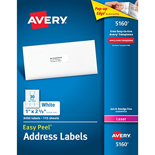 Mailing Label Templates (Avery Easy Peel Address Labels for Laser Printers, 1 x 2-5/8 Inches, Box of 3,450 (44561))