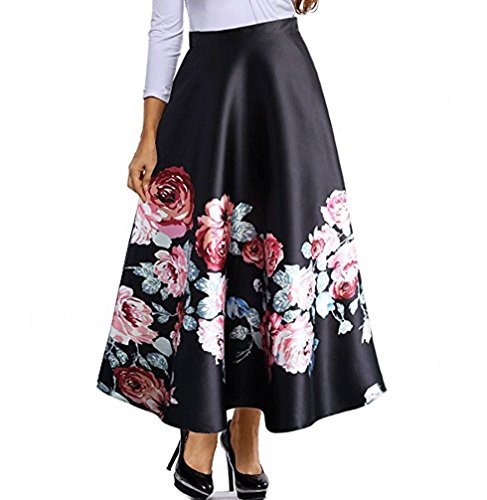 Red Dot Boutique 8826 - Plus Size Floral Blossoming Colorblock Monochrome Print Long Skirt (1X, Rose Blossom)