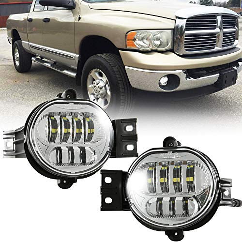 TRUCKMALL DOT Led Fog Lights Driver and Passenger Side Projector Lamps Bulb Accessories Kit Set for Dodge Ram 1500 2500 3500 Pickup Truck 2002 2003 2004 2005 2006 2007 2008 2009 Chrome ()
